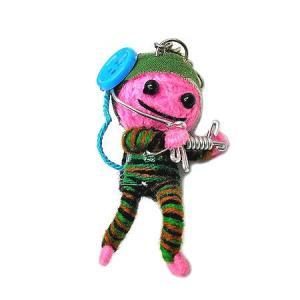アジアン雑貨 タイ雑貨 ブードゥー人形ストラップ キーホルダー ソルジャー ピンク [H.6cm] |angkasa