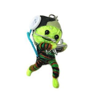 アジアン雑貨 タイ雑貨 ブードゥー人形ストラップ キーホルダー ソルジャー 黄緑 [H.6cm] |angkasa