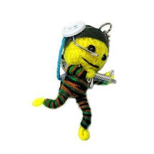 アジアン雑貨 タイ雑貨 ブードゥー人形ストラップ キーホルダー ソルジャー 黄色 [H.6cm] |angkasa