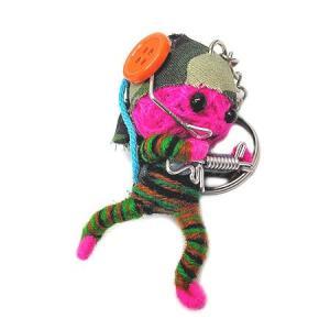 アジアン雑貨 タイ雑貨 ブードゥー人形ストラップ キーホルダー ソルジャー 赤紫 [H.6cm] |angkasa