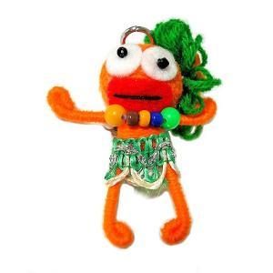 アジアン雑貨 タイ雑貨 ブードゥー人形ストラップ キーホルダー 花飾り オレンジ[H.6cm]|angkasa