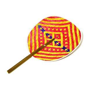タイの団扇 うちわバンブー 赤黄紫 アジアン雑貨 バリ雑貨 タイ雑貨 エスニック|angkasa