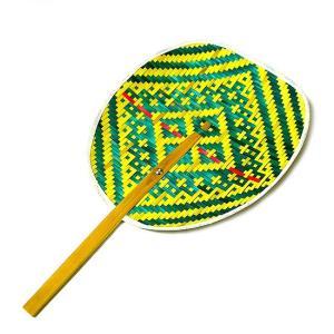 タイの団扇 うちわバンブー 赤黄緑 アジアン雑貨 バリ雑貨 タイ雑貨 エスニック|angkasa