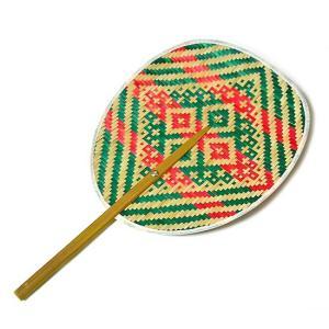 タイの団扇 うちわバンブー 赤緑ナチュラル アジアン雑貨 バリ雑貨 タイ雑貨 エスニック|angkasa