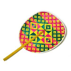 タイの団扇 うちわバンブー ピンク緑黄色 アジアン雑貨 バリ雑貨 タイ雑貨 エスニック|angkasa