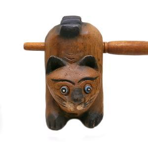 アジア 楽器 ネコ 笛 ねこ モーコック ギロ 11cm 木製 木彫り 彫刻 癒し アジアン バリ タイ 雑貨 インテリア|angkasa
