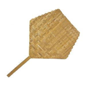 タイの団扇 バンブーのうちわ ナチュラル 長さ約46cm アジアン雑貨 タイ雑貨|angkasa