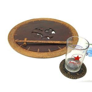 アタ ロンボク コースター バラ1枚 [直径約9.5cm] アジアン雑貨 バリ雑貨 エスニック おしゃれなコースター|angkasa