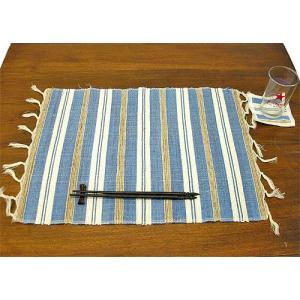 布とサンダルウッドのランチョンマット コースター付き [ブルー] アジアン雑貨 バリ雑貨 タイ エスニック おしゃれなテーブルマット|angkasa