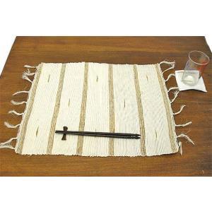 布 サンダルウッド ランチョンマット コースター 付き ホワイト アジアン バリ雑貨 タイ エスニック おしゃれ テーブル マット|angkasa