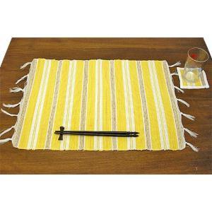 布とサンダルウッドのランチョンマット コースター付き [イエロー] アジアン雑貨 バリ雑貨 タイ エスニック おしゃれなテーブルマット|angkasa