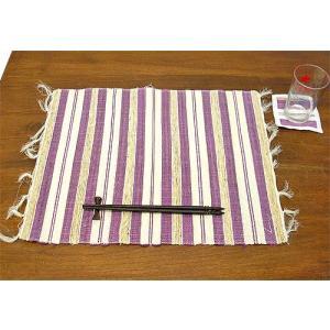 布とサンダルウッドのランチョンマット コースター付き [パープル] アジアン雑貨 バリ雑貨 タイ エスニック おしゃれなテーブルマット|angkasa