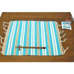 布とサンダルウッドのランチョンマット コースター付き [ライトブルー] アジアン雑貨 バリ雑貨 タイ エスニック おしゃれなテーブルマット|angkasa