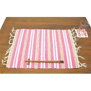 布とサンダルウッドのランチョンマット コースター付き [ピンク] アジアン雑貨 バリ雑貨 タイ エスニック おしゃれなランチョンマット|angkasa