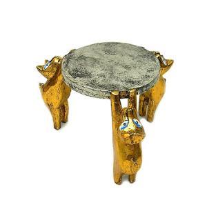 金のバリネコさんのミニテーブル3匹シルバー Sサイズ [H.約18cm・天板直径約18cm] アジアン雑貨 バリ タイ エスニック アニマル 装飾 |angkasa