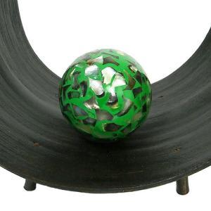 インテリアボール グリーン 貝殻チップ入り アジアン雑貨 バリ雑貨|angkasa