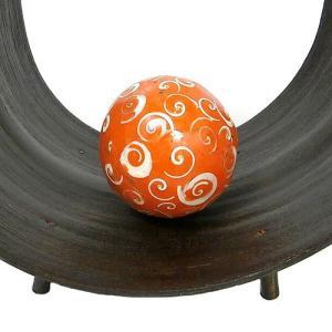 インテリアボール オレンジ 貝殻チップ入り アジアン雑貨 バリ雑貨|angkasa