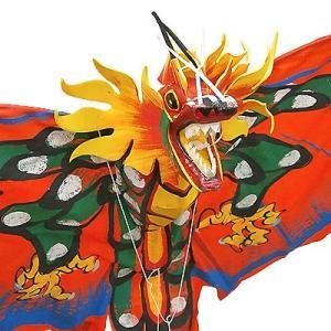 招福来運 バリの凧 飾り凧ドラゴン赤 [全長175cm] アジアン雑貨 バリ雑貨 カイト|angkasa