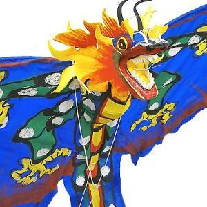 招福来運 バリの凧 飾り凧ドラゴン青 [全長175cm] アジアン雑貨 バリ雑貨 カイト|angkasa