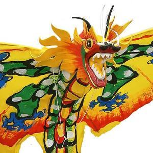 招福来運 バリの凧 飾り凧ドラゴン黄色 [全長175cm] アジアン雑貨 バリ雑貨 カイト|angkasa