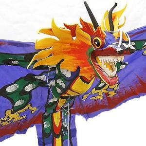 招福来運 バリの凧 飾り凧ドラゴン紫 [全長175cm] アジアン雑貨 バリ雑貨 カイト|angkasa