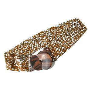 アジアン雑貨 バリ雑貨 バリビーズのベルト B ゴールド・ホワイト [長さ約70〜80cm]|angkasa