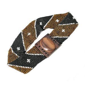 アジアン雑貨 バリ雑貨 バリビーズのベルト F ブラック・ゴールド [長さ約70〜80cm]|angkasa