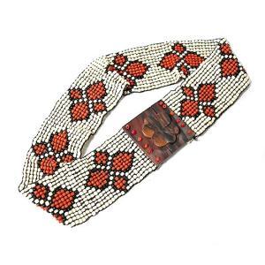 アジアン雑貨 バリ雑貨 バリビーズのベルト G ホワイト・レッド [長さ約70〜80cm]|angkasa