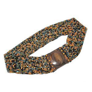 アジアン雑貨 バリ雑貨 バリビーズのベルト L ブラック・オレンジ [長さ約70〜80cm]|angkasa