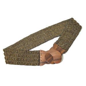 アジアン雑貨 バリ雑貨 バリビーズのベルト M ゴールド [長さ約70〜80cm]|angkasa