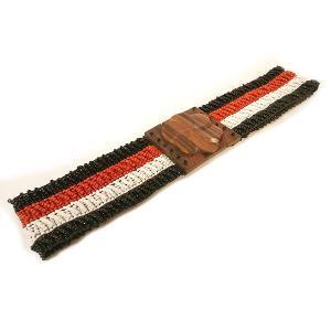 ビーズ ベルト 白 黒 赤 伸びる 調整 ゴム 伸縮 長さ約70〜80cm アジアン バリ タイ 雑貨 お洒落 ファッション|angkasa