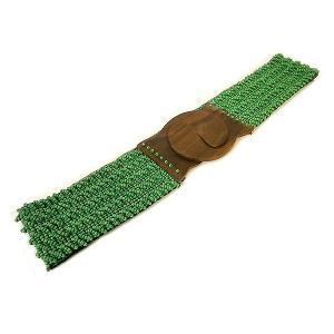 ビーズ ベルト グリーン 伸びる 調整 ゴム 伸縮 長さ約70〜80cm アジアン バリ タイ 雑貨 お洒落 ファッション|angkasa