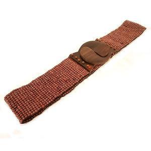ビーズ ベルト ブラウン 伸びる 調整 ゴム 伸縮 長さ約70〜80cm アジアン バリ タイ 雑貨 お洒落 ファッション|angkasa