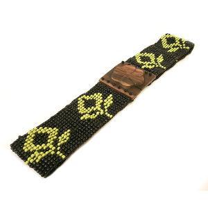 ビーズ ベルト 緑 黒 花柄 伸びる 調整 ゴム 伸縮 長さ約70〜80cm アジアン バリ タイ 雑貨 お洒落 ファッション|angkasa
