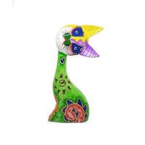 木製 バリ ネコ カラフル B グリーン Mサイズ 単品 木彫り インテリア 猫 置物 オブジェ アジアン バリ タイ 雑貨 エスニック アンティーク|angkasa