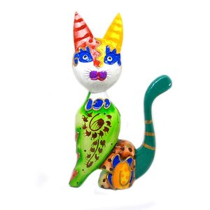 木製 バリ ネコ カラフル D グリーン Lサイズ 単品 木彫り インテリア 猫 置物 オブジェ アジアン バリ タイ 雑貨 エスニック アンティーク|angkasa