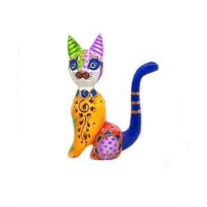 木製 バリ ネコ カラフル E オレンジ Sサイズ 単品 木彫り インテリア 猫 置物 オブジェ アジアン バリ タイ 雑貨 エスニック アンティーク|angkasa
