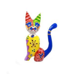 木製 バリ ネコ カラフル F イエロー Mサイズ 単品 木彫り インテリア 猫 置物 オブジェ アジアン バリ タイ 雑貨 エスニック アンティーク|angkasa