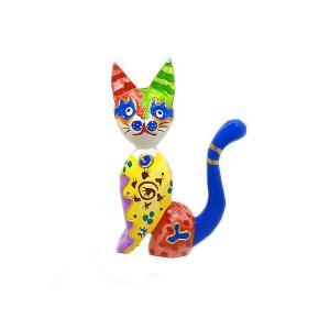 木製 バリ ネコ カラフル F イエロー Sサイズ 単品 木彫り インテリア 猫 置物 オブジェ アジアン バリ タイ 雑貨 エスニック アンティーク|angkasa