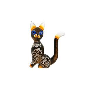 木製 バリ ネコ アンティーク A 単品 木彫り Sサイズ インテリア 猫 置物 オブジェ アジアン バリ タイ 雑貨 エスニック|angkasa