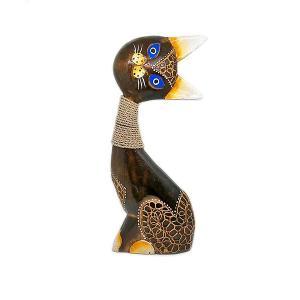 木製 バリ ネコ アンティーク B 単品 Lサイズ 木彫り インテリア 猫 置物 オブジェ アジアン バリ タイ 雑貨 エスニック アンティーク|angkasa