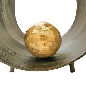 インテリア ボール ラグジュアリー ゴールド 貝殻 シェル アジアン バリ タイ 雑貨 インテリア オブジェ 置物 アート 玉 球|angkasa