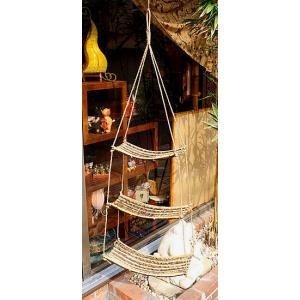 アジアン雑貨 バリ雑貨 ココナッツ枝とバンブーのハンガー ラック 吊り下げ 3段 全長約127cm|angkasa