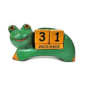 木製 カエル 永久カレンダー 大 アジアン雑貨 バリ雑貨 タイ雑貨 エスニック おしゃれな カレンダー 卓上|angkasa