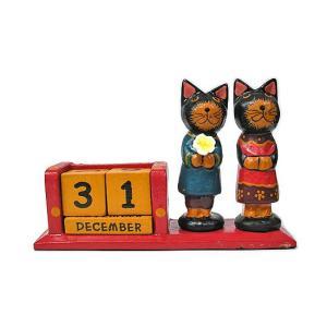 木製 バリネコ 永久カレンダー カップル アジアン雑貨 バリ雑貨 タイ雑貨 エスニック おしゃれな カレンダー 卓上|angkasa