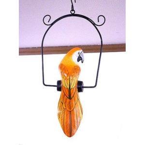 南国のカラフルバード 吊り下げ オレンジ [20cm] アジアン雑貨 バリ雑貨 おしゃれな 小鳥の アジアン インテリア|angkasa