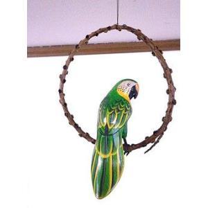 南国のカラフルバード 吊り下げ 木の枠 緑[20cm] アジアン雑貨 バリ雑貨 おしゃれな 小鳥の アジアン インテリア|angkasa