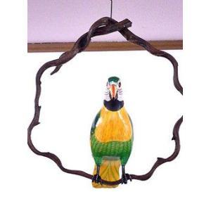 南国のカラフルバード 吊り下げ 木の枠 緑 [30cm] アジアン雑貨 バリ雑貨 おしゃれな 小鳥の アジアン インテリア|angkasa