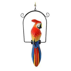 南国のカラフルバード 吊り下げ 赤・青[30cm] アジアン雑貨 バリ雑貨 おしゃれな 小鳥の アジアン インテリア|angkasa