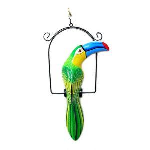南国のカラフルバード 吊り下げ 黄緑・水色くちばし[32cm] アジアン雑貨 バリ雑貨 おしゃれな 小鳥の アジアン インテリア|angkasa